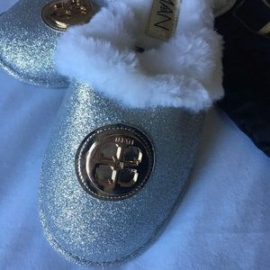 IMAN Shoes - IMAN Silver Shimmer House Shoes Slippers Furry